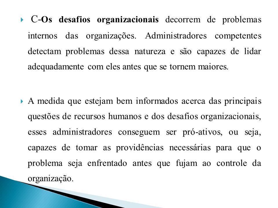 C-Os desafios organizacionais decorrem de problemas internos das organizações. Administradores competentes detectam problemas dessa natureza e são capazes de lidar adequadamente com eles antes que se tornem maiores.