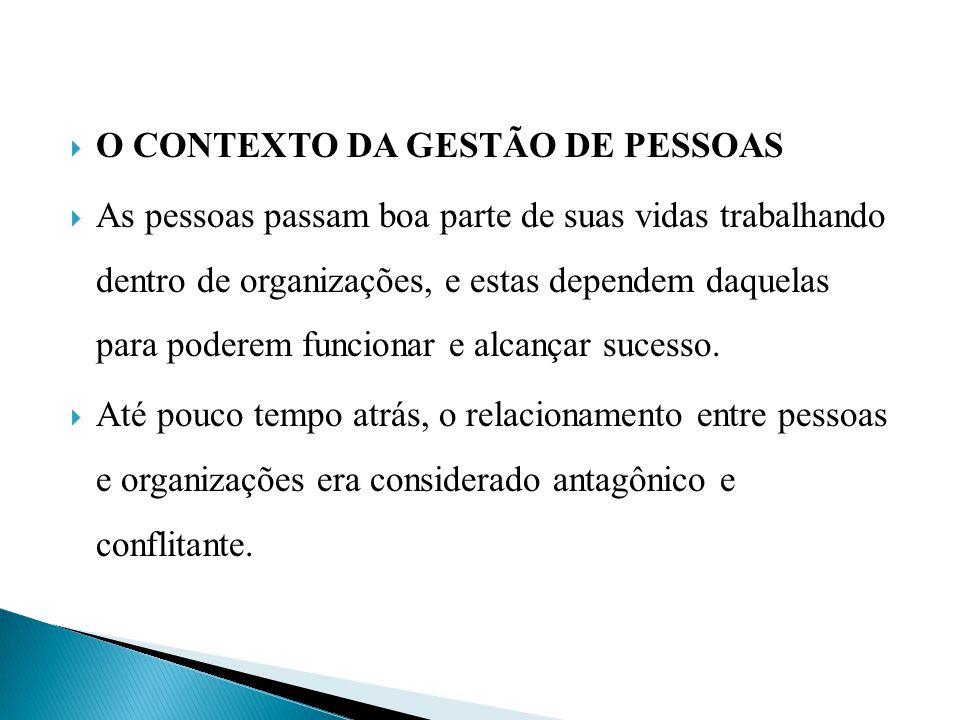 O CONTEXTO DA GESTÃO DE PESSOAS