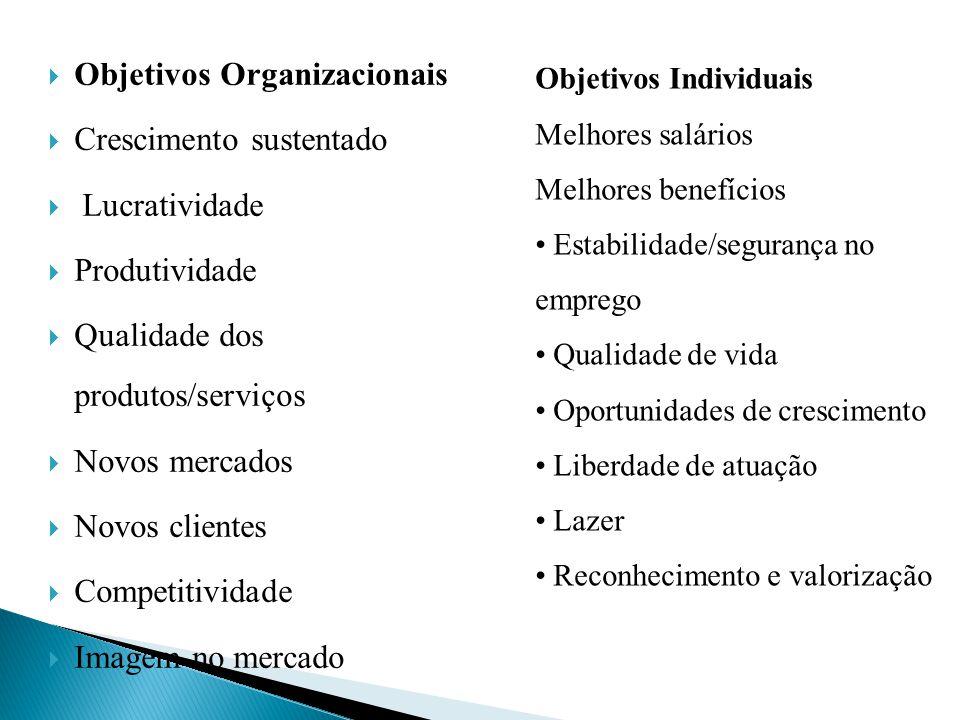 Objetivos Organizacionais Crescimento sustentado Lucratividade