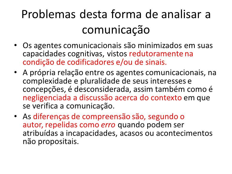Problemas desta forma de analisar a comunicação