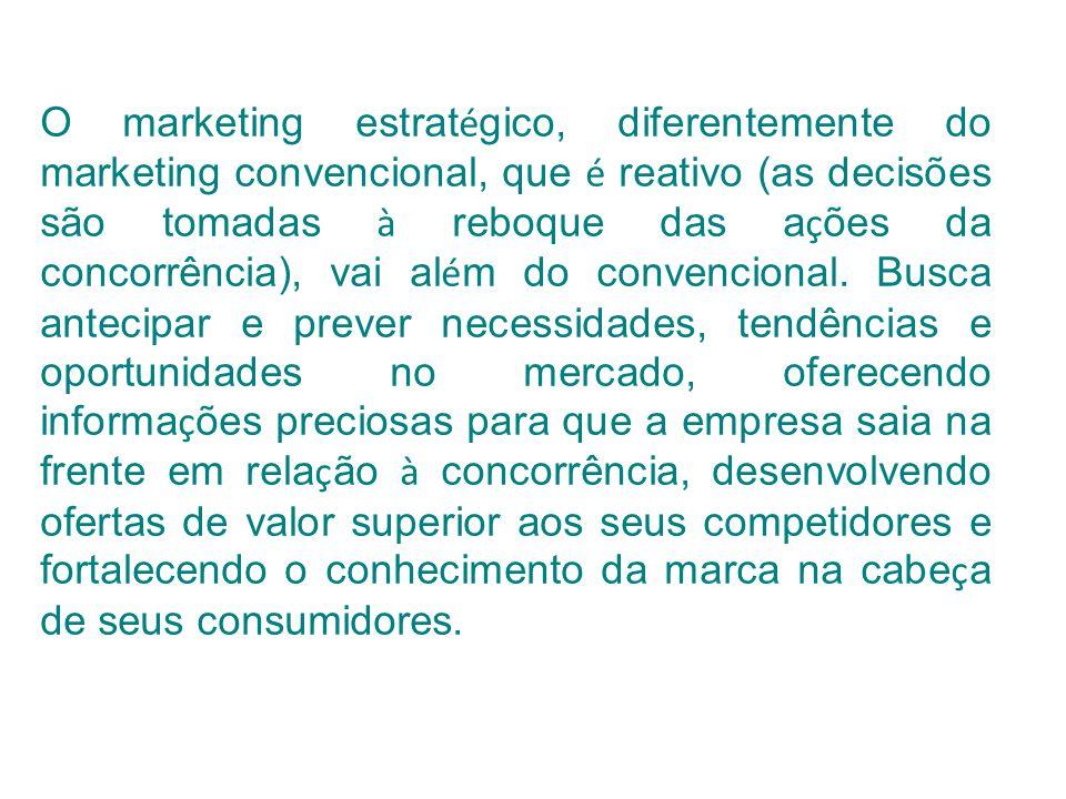 O marketing estratégico, diferentemente do marketing convencional, que é reativo (as decisões são tomadas à reboque das ações da concorrência), vai além do convencional.