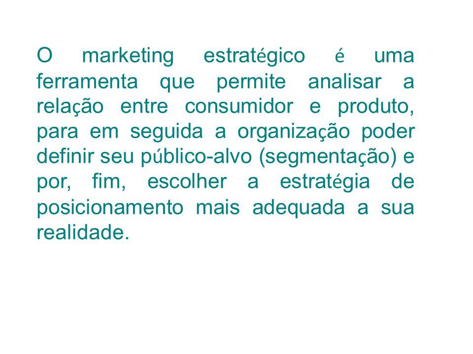 O marketing estratégico é uma ferramenta que permite analisar a relação entre consumidor e produto, para em seguida a organização poder definir seu público-alvo (segmentação) e por, fim, escolher a estratégia de posicionamento mais adequada a sua realidade.