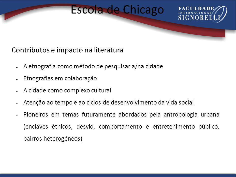 Escola de Chicago Contributos e impacto na literatura