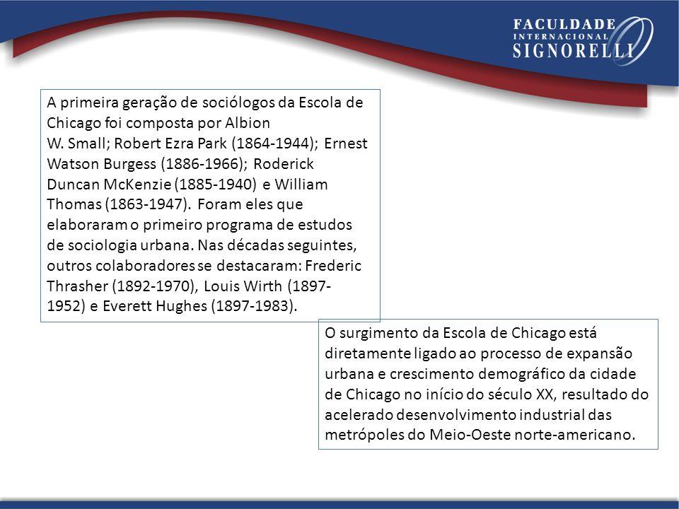 A primeira geração de sociólogos da Escola de Chicago foi composta por Albion