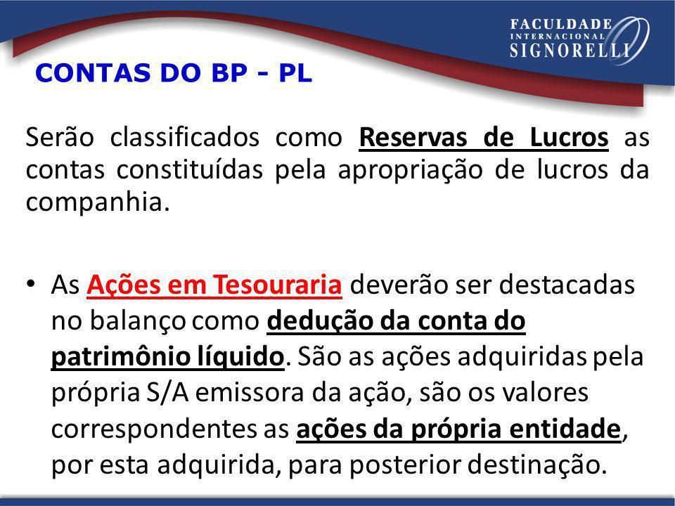 CONTAS DO BP - PL Serão classificados como Reservas de Lucros as contas constituídas pela apropriação de lucros da companhia.