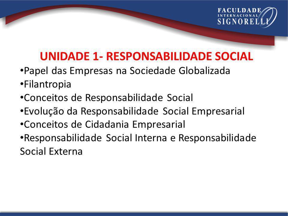 UNIDADE 1- RESPONSABILIDADE SOCIAL