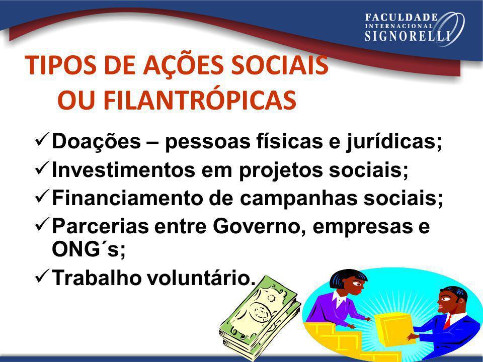 TIPOS DE AÇÕES SOCIAIS OU FILANTRÓPICAS