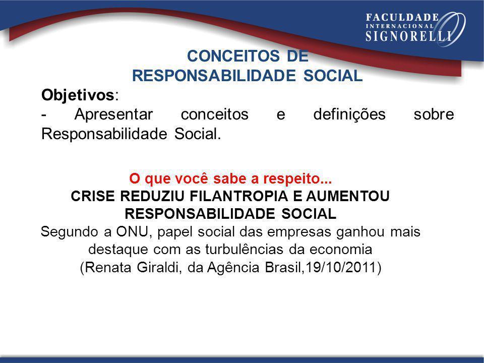 RESPONSABILIDADE SOCIAL Objetivos: