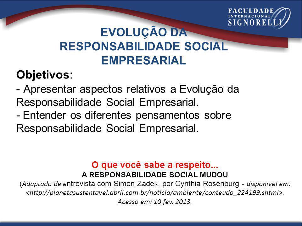 O que você sabe a respeito... A RESPONSABILIDADE SOCIAL MUDOU