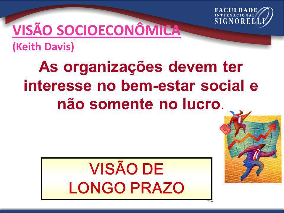 VISÃO SOCIOECONÔMICA (Keith Davis) As organizações devem ter interesse no bem-estar social e não somente no lucro.