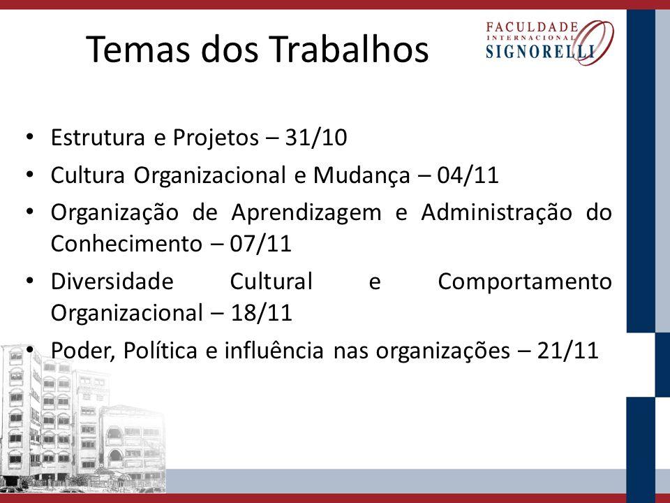 Temas dos Trabalhos Estrutura e Projetos – 31/10