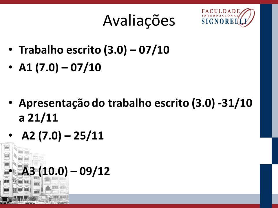Avaliações Trabalho escrito (3.0) – 07/10 A1 (7.0) – 07/10