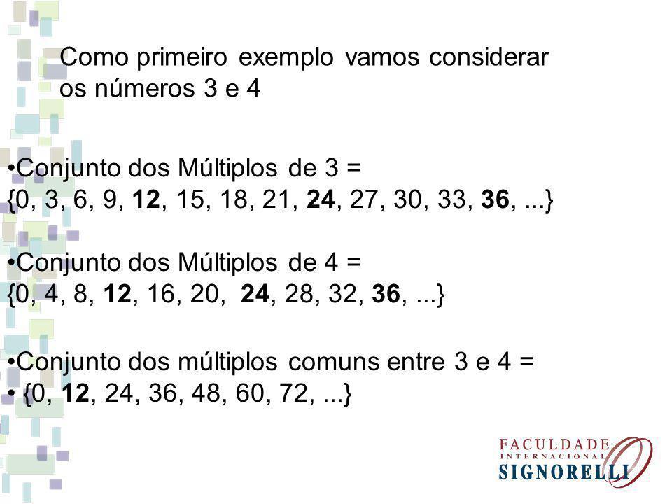 Como primeiro exemplo vamos considerar os números 3 e 4