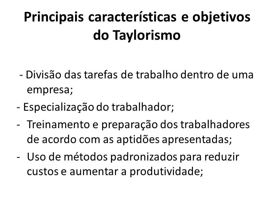 Principais características e objetivos do Taylorismo