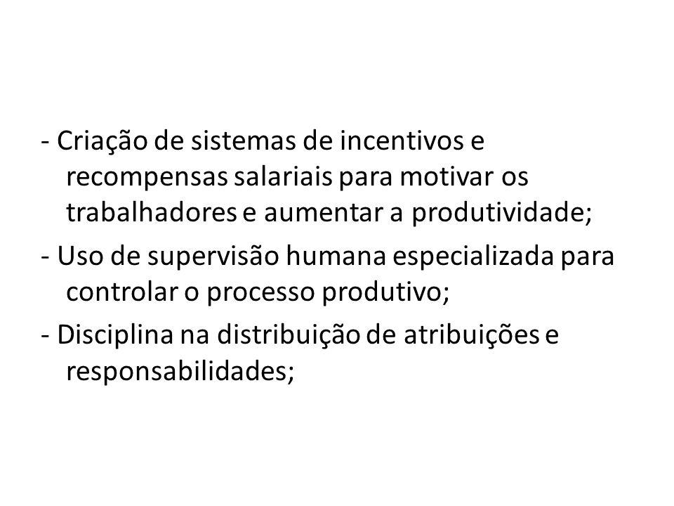 - Criação de sistemas de incentivos e recompensas salariais para motivar os trabalhadores e aumentar a produtividade;