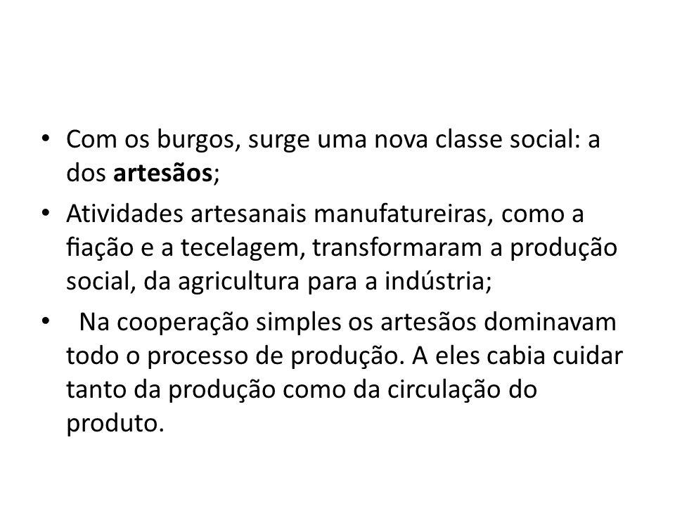Com os burgos, surge uma nova classe social: a dos artesãos;