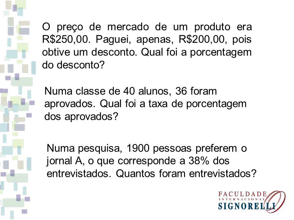 O preço de mercado de um produto era R$250,00