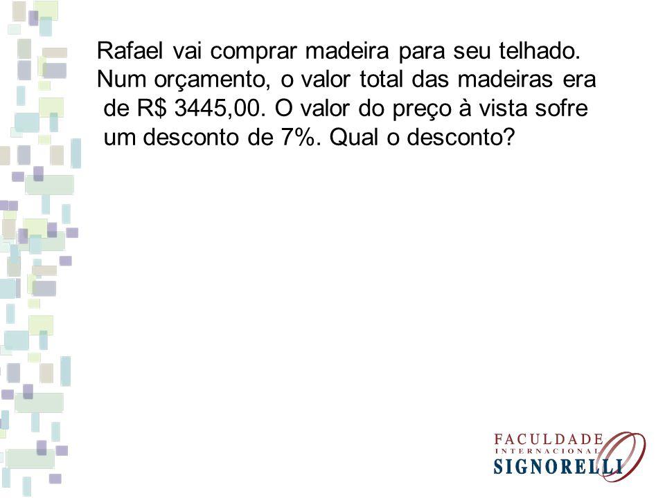 Rafael vai comprar madeira para seu telhado.