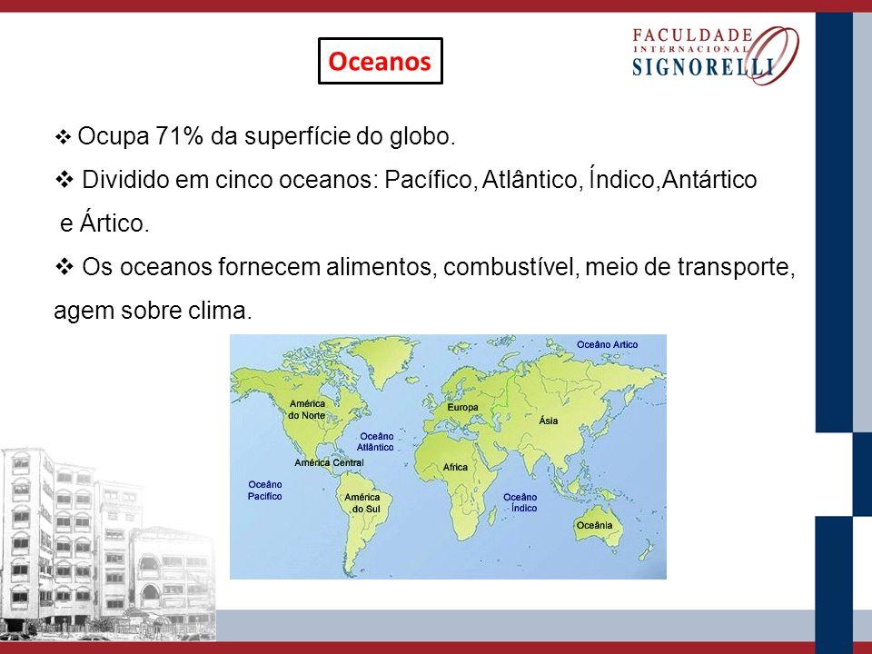 Oceanos Ocupa 71% da superfície do globo. Dividido em cinco oceanos: Pacífico, Atlântico, Índico,Antártico.