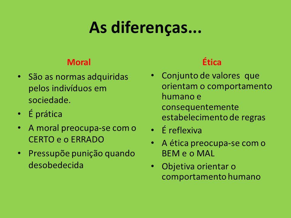 As diferenças... Moral Ética