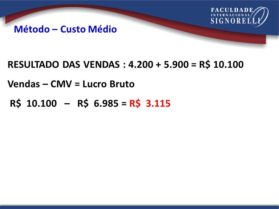 Método – Custo Médio RESULTADO DAS VENDAS : 4.200 + 5.900 = R$ 10.100. Vendas – CMV = Lucro Bruto.