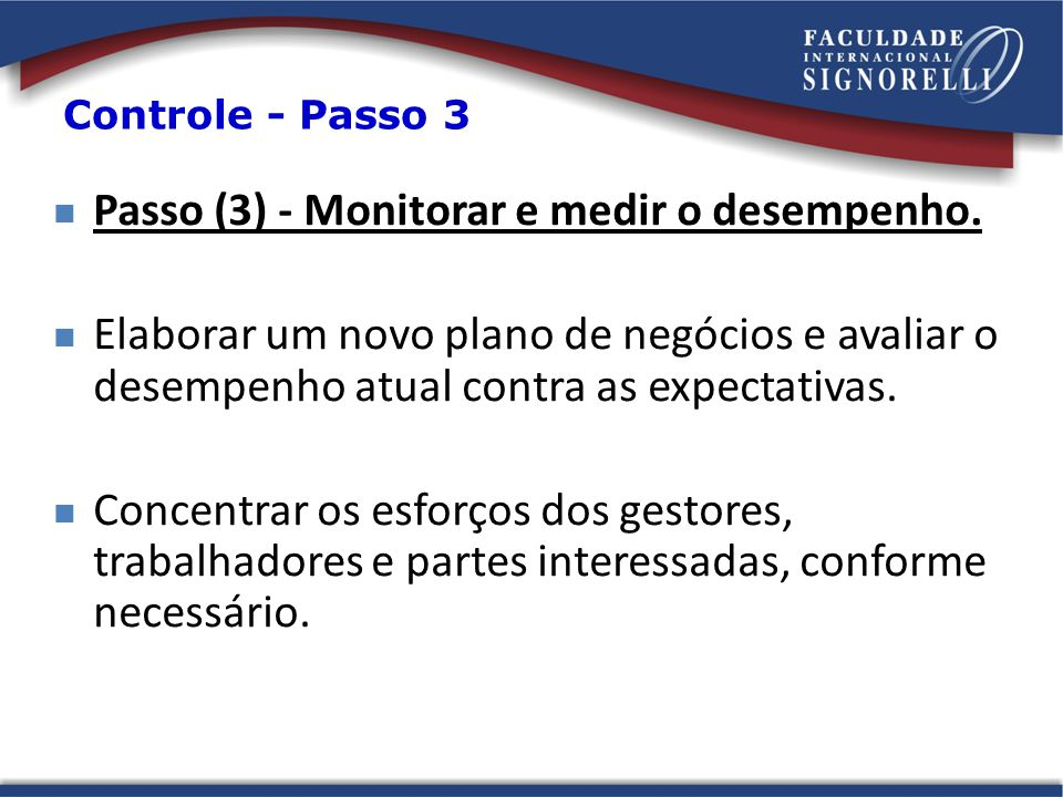 Passo (3) - Monitorar e medir o desempenho.
