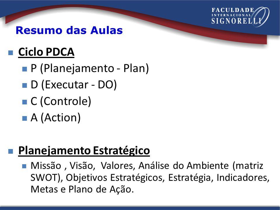 P (Planejamento - Plan) D (Executar - DO) C (Controle) A (Action)