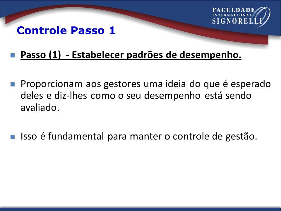 Passo (1) - Estabelecer padrões de desempenho.