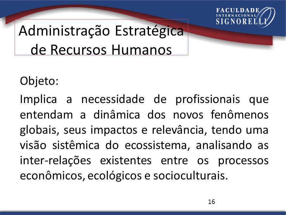 Administração Estratégica de Recursos Humanos