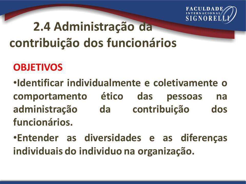 2.4 Administração da contribuição dos funcionários