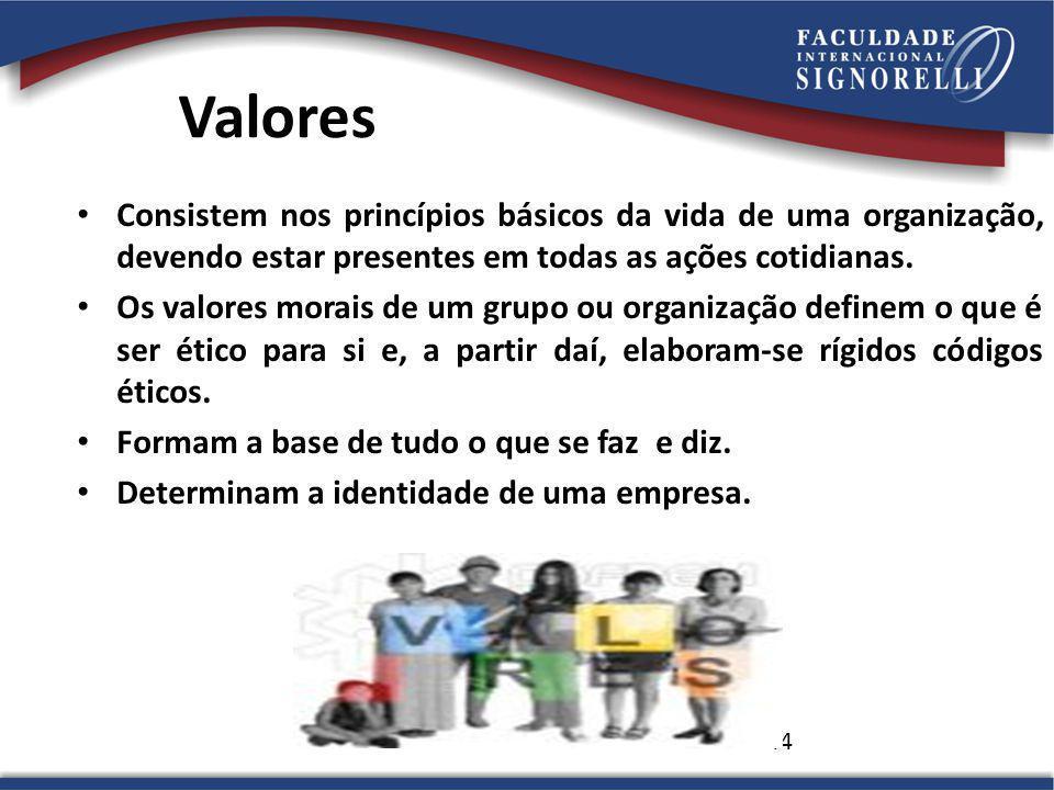 Valores Consistem nos princípios básicos da vida de uma organização, devendo estar presentes em todas as ações cotidianas.