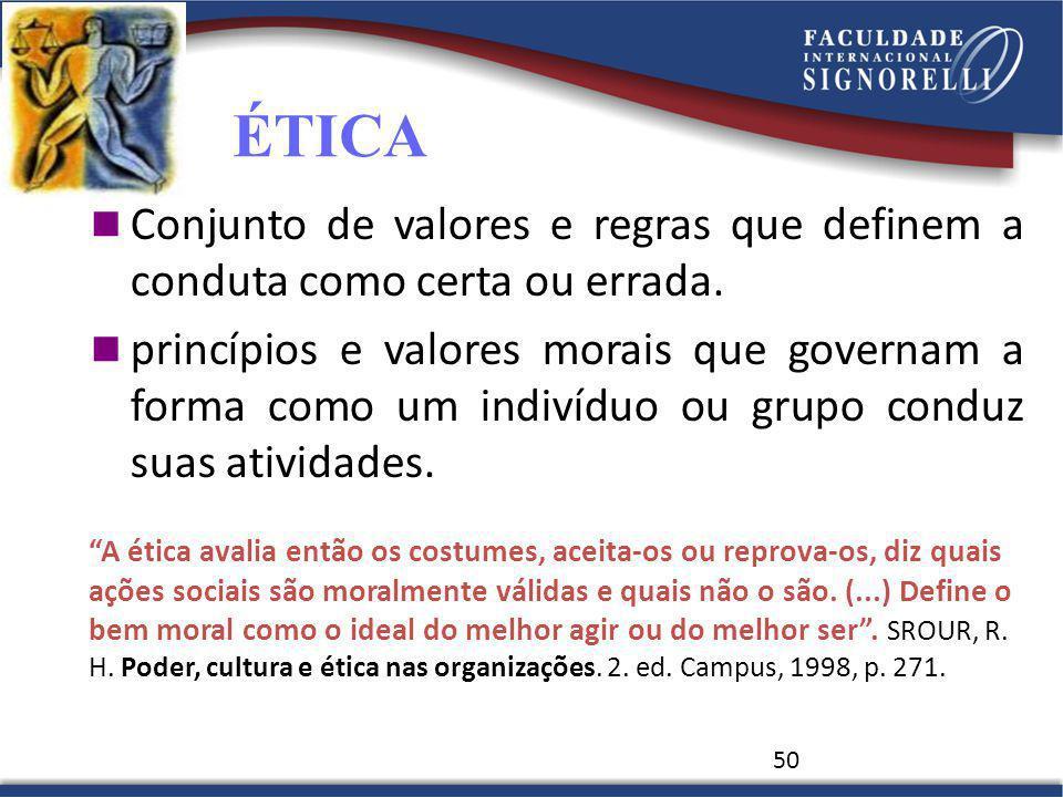 ÉTICA Conjunto de valores e regras que definem a conduta como certa ou errada.