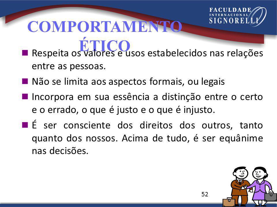 COMPORTAMENTO ÉTICO. Respeita os valores e usos estabelecidos nas relações entre as pessoas. Não se limita aos aspectos formais, ou legais.