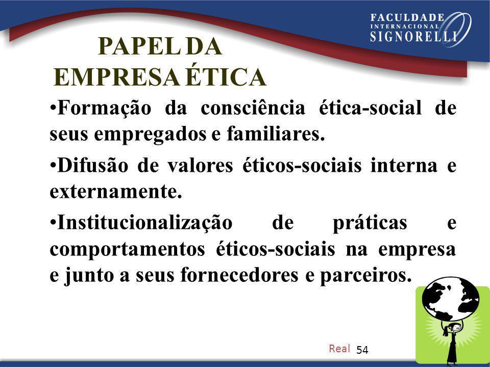 PAPEL DA EMPRESA ÉTICA. Formação da consciência ética-social de seus empregados e familiares.