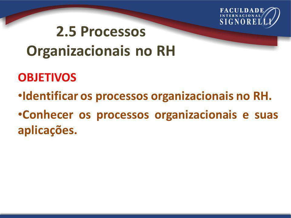 2.5 Processos Organizacionais no RH
