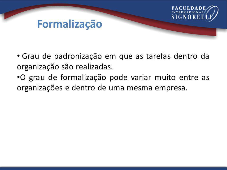 Formalização Grau de padronização em que as tarefas dentro da organização são realizadas.
