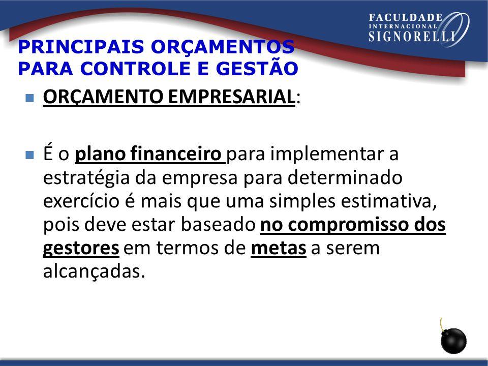 PRINCIPAIS ORÇAMENTOS PARA CONTROLE E GESTÃO