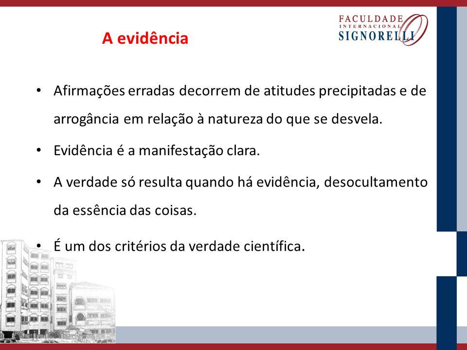 A evidência Afirmações erradas decorrem de atitudes precipitadas e de arrogância em relação à natureza do que se desvela.