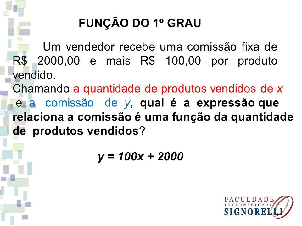 FUNÇÃO DO 1º GRAU Um vendedor recebe uma comissão fixa de R$ 2000,00 e mais R$ 100,00 por produto vendido.
