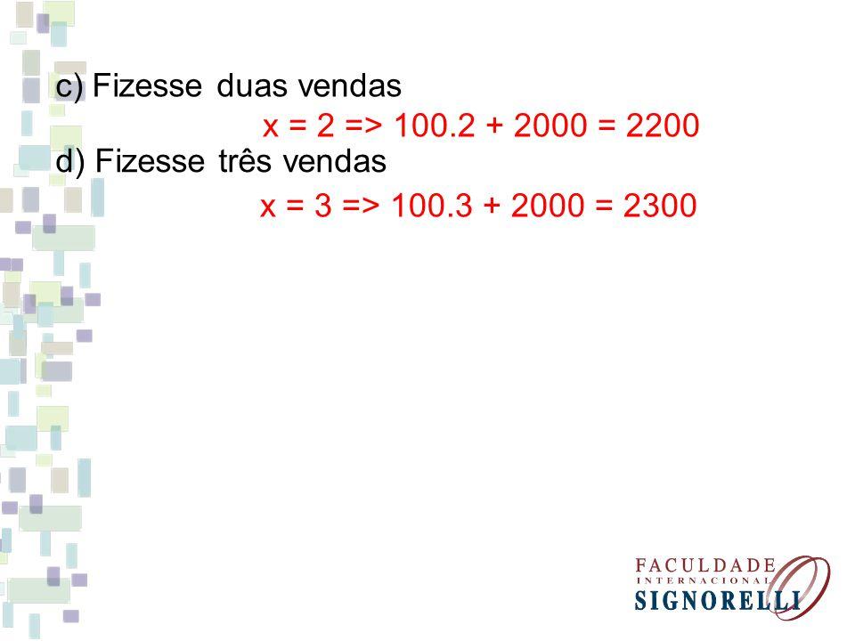 c) Fizesse duas vendas x = 2 => 100.2 + 2000 = 2200.