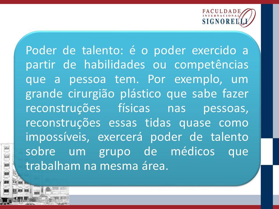 Poder de talento: é o poder exercido a partir de habilidades ou competências que a pessoa tem.