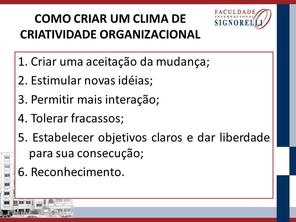 COMO CRIAR UM CLIMA DE CRIATIVIDADE ORGANIZACIONAL