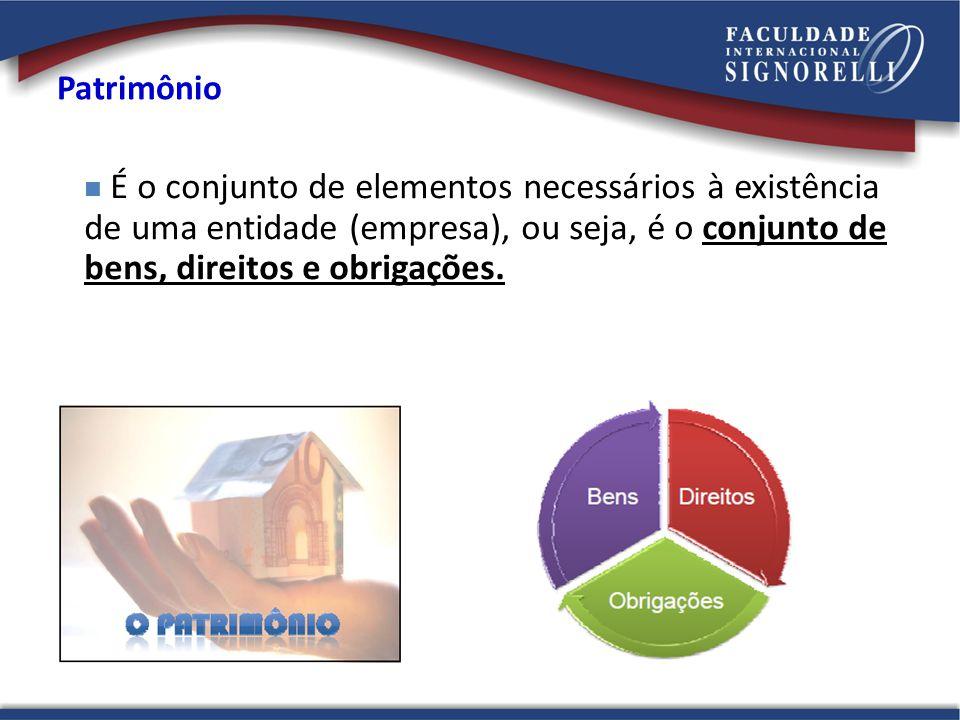 Patrimônio É o conjunto de elementos necessários à existência de uma entidade (empresa), ou seja, é o conjunto de bens, direitos e obrigações.