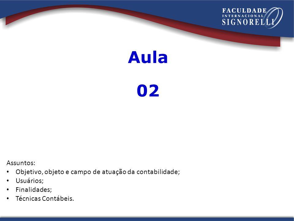 Aula 02. Assuntos: Objetivo, objeto e campo de atuação da contabilidade; Usuários; Finalidades;