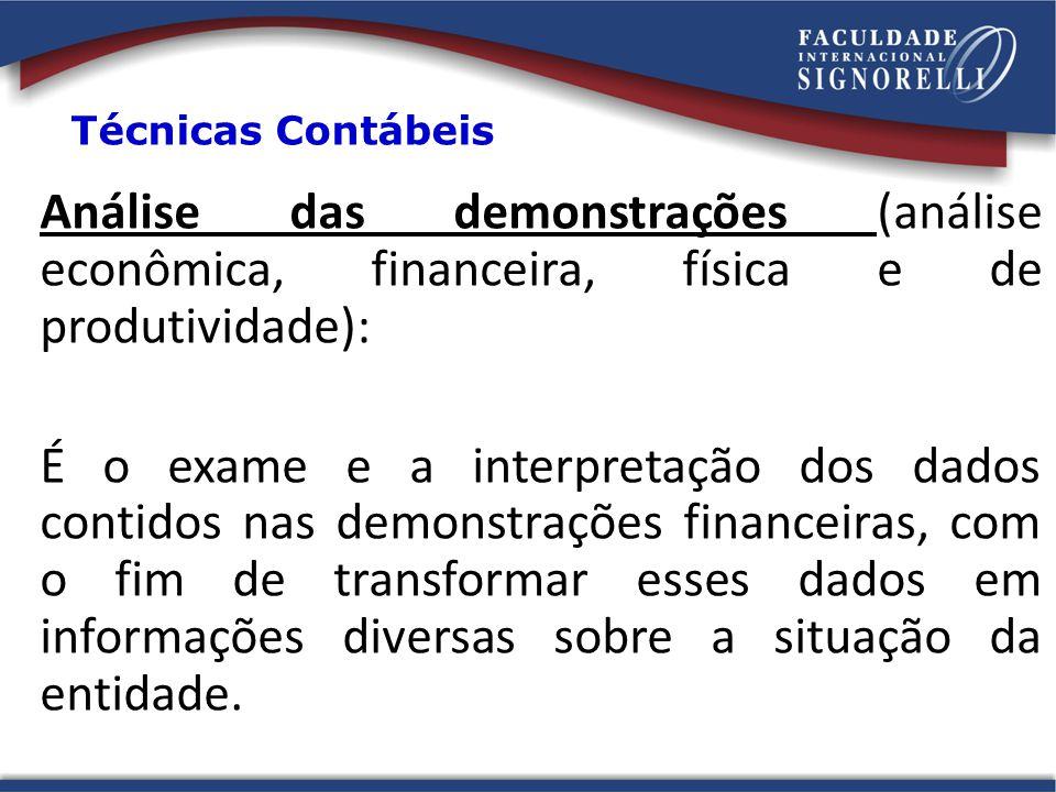 Técnicas Contábeis Análise das demonstrações (análise econômica, financeira, física e de produtividade):