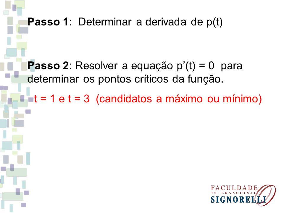 Passo 1: Determinar a derivada de p(t)