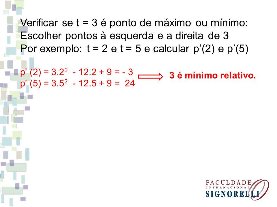 Verificar se t = 3 é ponto de máximo ou mínimo: