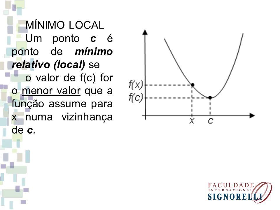 MÍNIMO LOCAL Um ponto c é ponto de mínimo relativo (local) se.