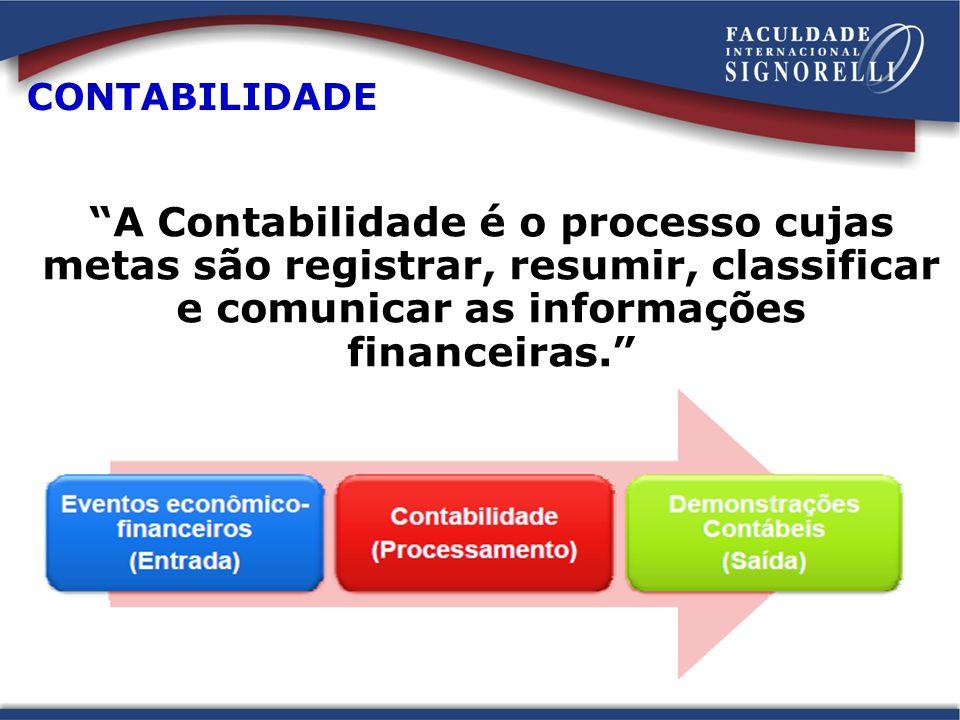 CONTABILIDADE A Contabilidade é o processo cujas metas são registrar, resumir, classificar e comunicar as informações financeiras.