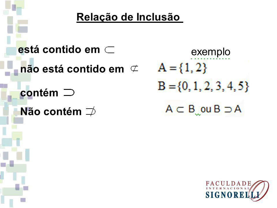 Relação de Inclusão está contido em exemplo não está contido em contém Não contém